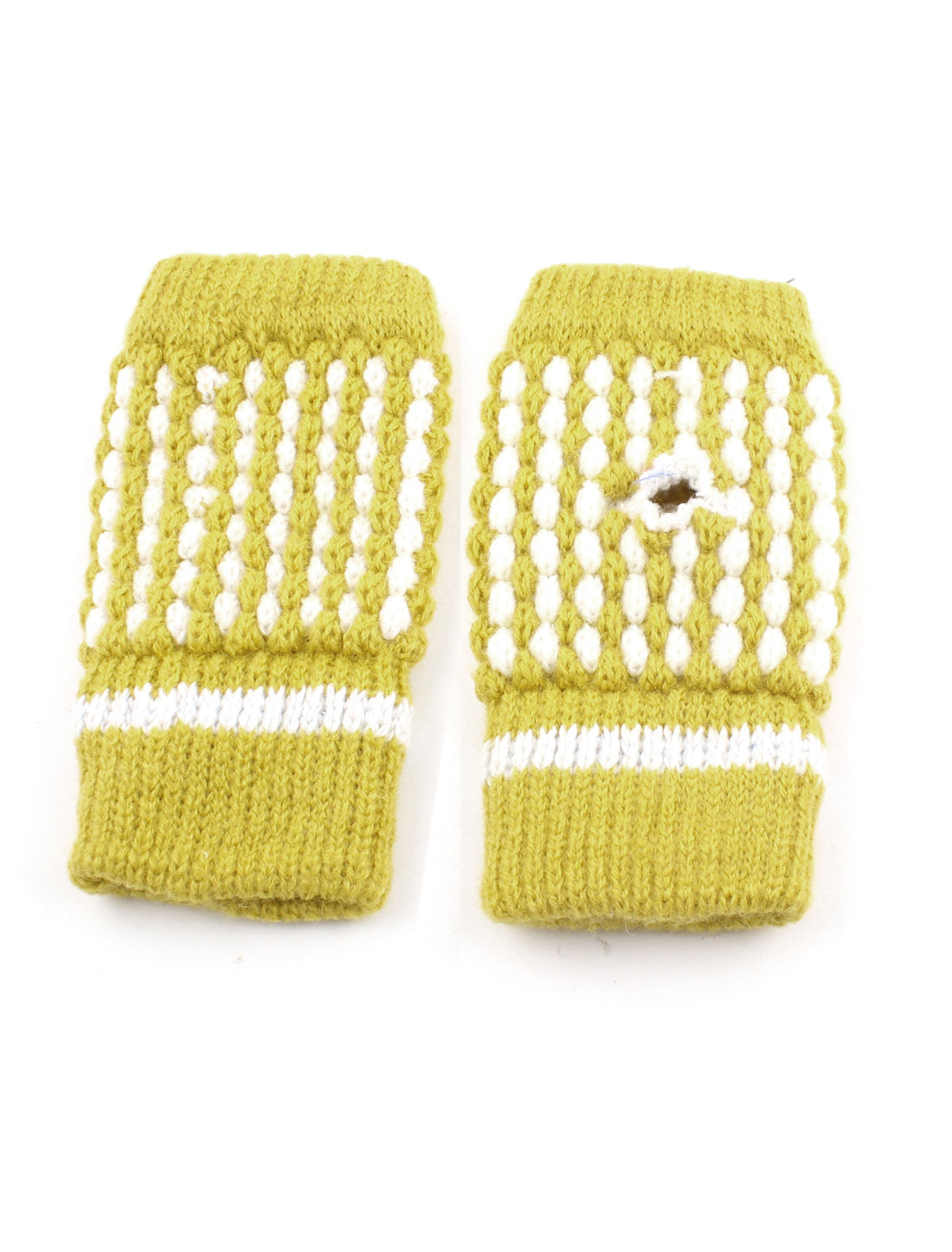 Women Lady Winter Stretchy Cuff Wrist Hand Warmer Fingerless Gloves Yellow Pair