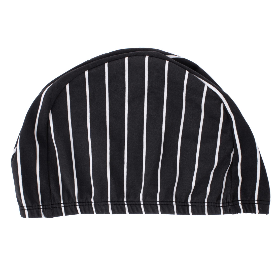 Men Women Striped Pattern Stretchy Swimming Pool Bathing Swim Hat Cap Dark Gray