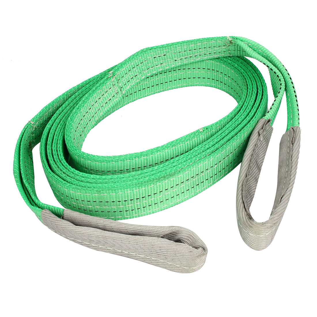 50mm Width 5m Length Polyester Two Ply Twisted Eye Lifting Tow Strap Green Gray