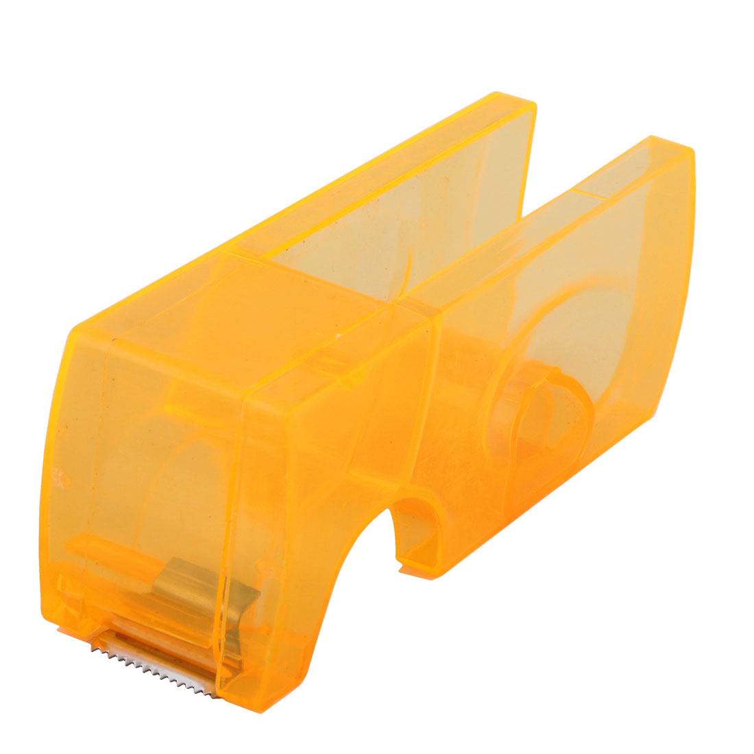 "Plastic Office Desktop 0.8"" Width Tape Cutter Holder Dispenser Clear Orange"