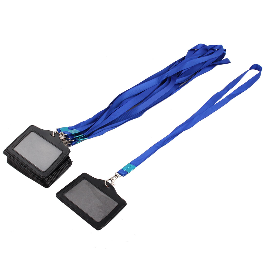 Faux Leather Lateral Design Lanyard Strap Name ID Card Holder Black Blue 10pcs