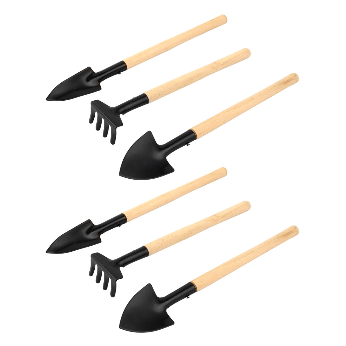 Potted Plant Wood Handle Rake Shovel Digging Trowel Gardening Tool 2 Sets