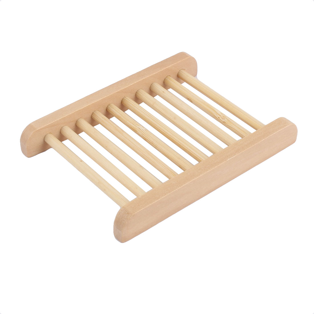 Bathroom Natural Wooden Shower Soap Holder Rack Strainer Tray 11.5 x 8.5cm