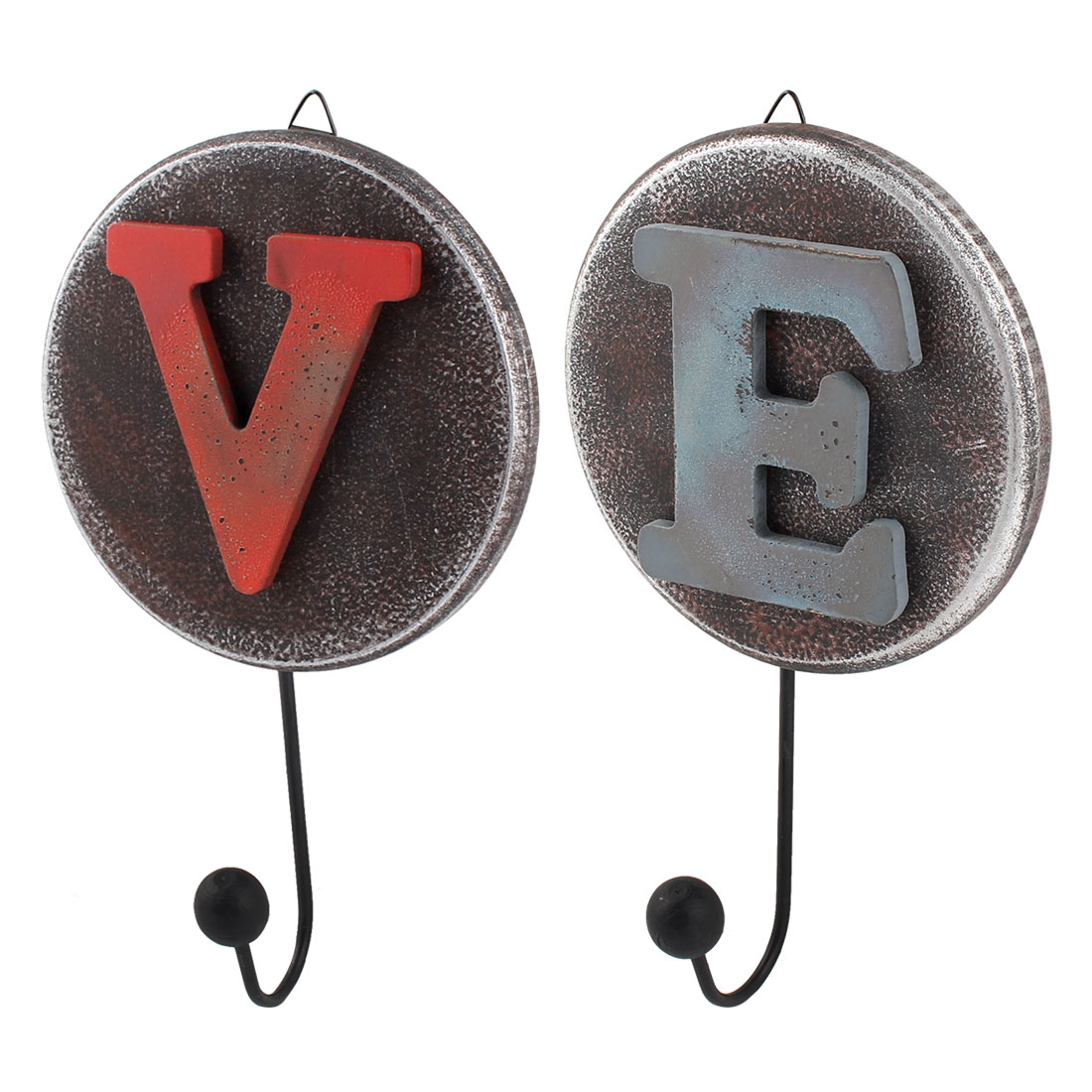 "Wall Decor Retro Style Letter ""V"" ""E""Pattern Clock Calendars Hanger Hook 2pcs"