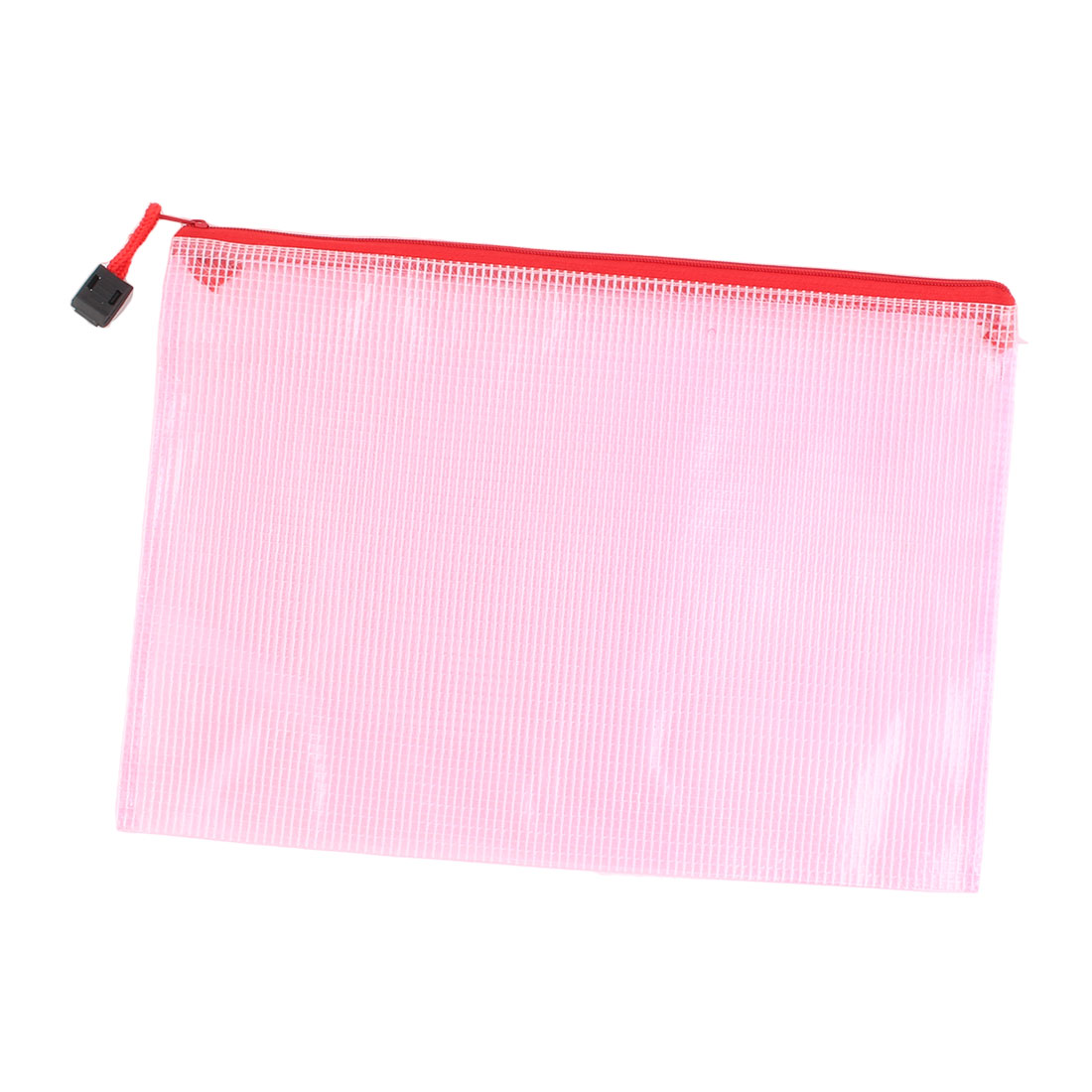 School Office Grid Pattern A5 Document File Zippered Folder Holder Bag Pink