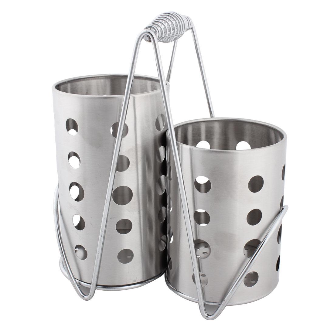 Stainless Steel Kitchen Utensil Spoon Chopsticks Holder Organizer Set 2 in 1