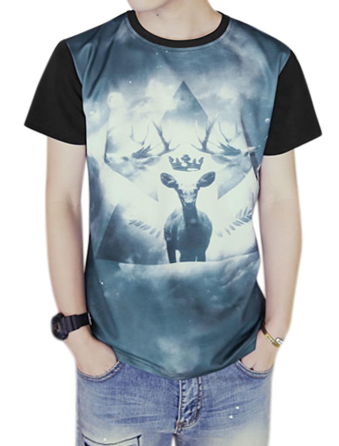 Men Crew Neck Short Sleeves Slim Fit Deer Print Tee Black S