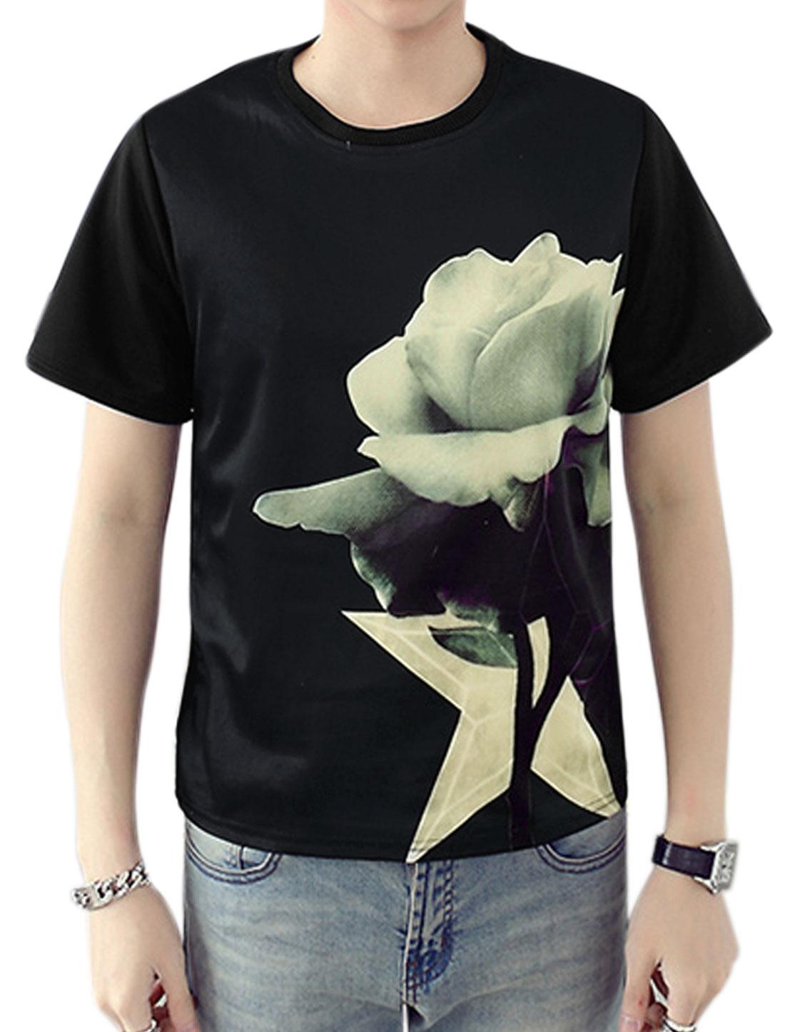Men Crew Neck Short Sleeves Floral Print Tee Shirt Black S