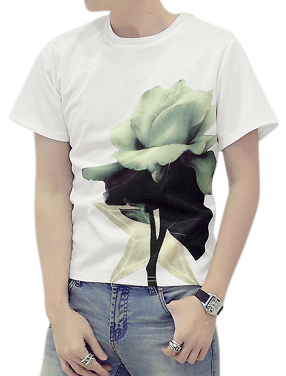 Men Crew Neck Short Sleeves Floral Print Tee Shirt White M