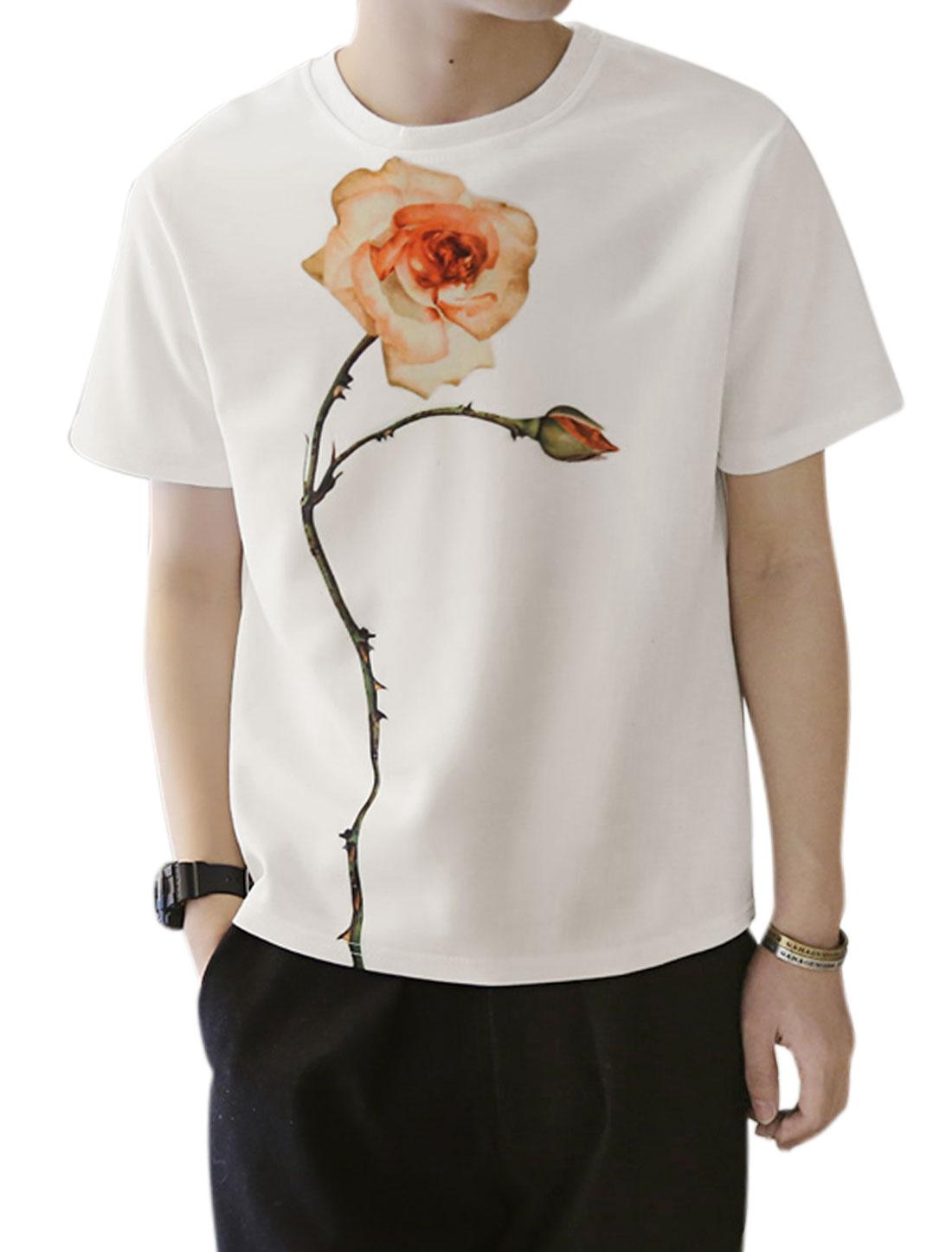 Men Crew Neck Short Sleeves Rose Print Tee Shirt White S