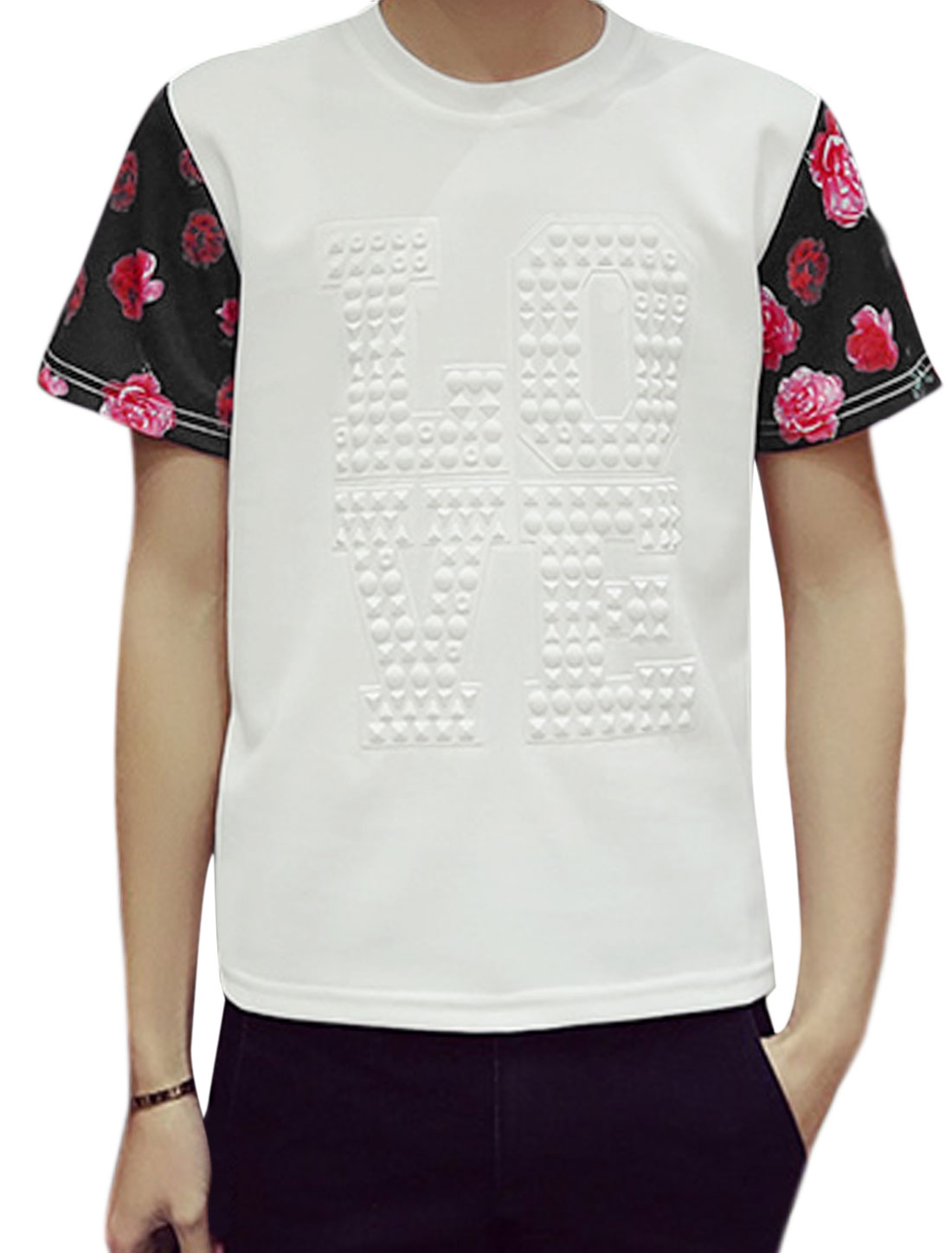 Men Floral Print Short Sleeves Letters Embossed Tee White S