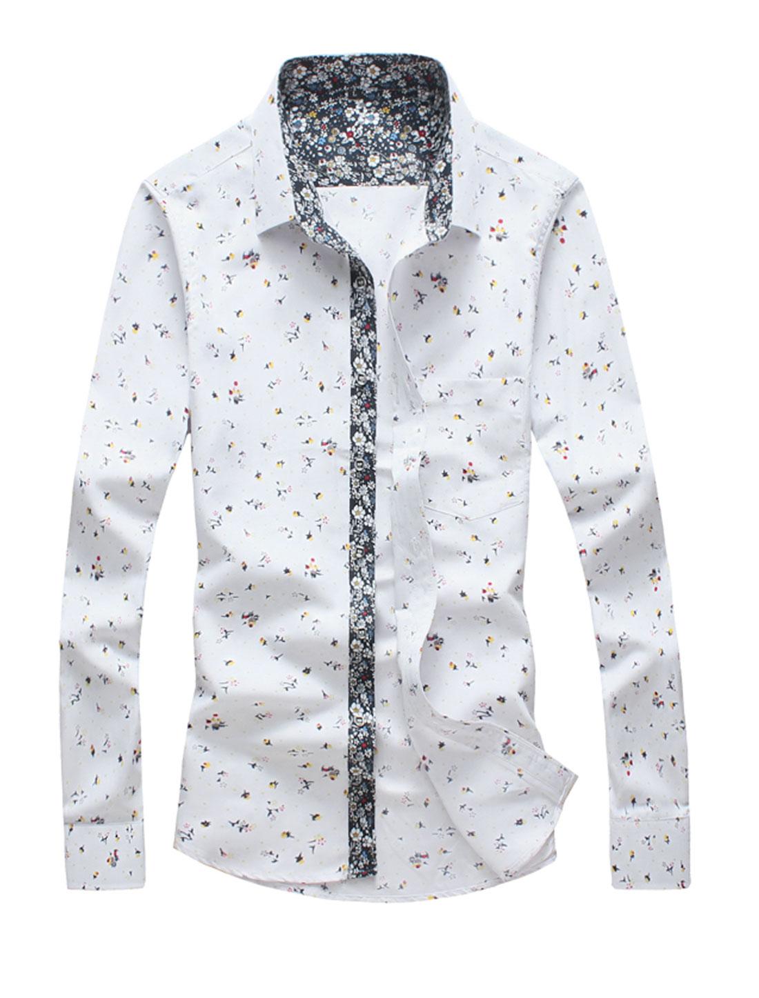Men One Pocket Slim Fit Single Breasted Flower Print Shirt White M