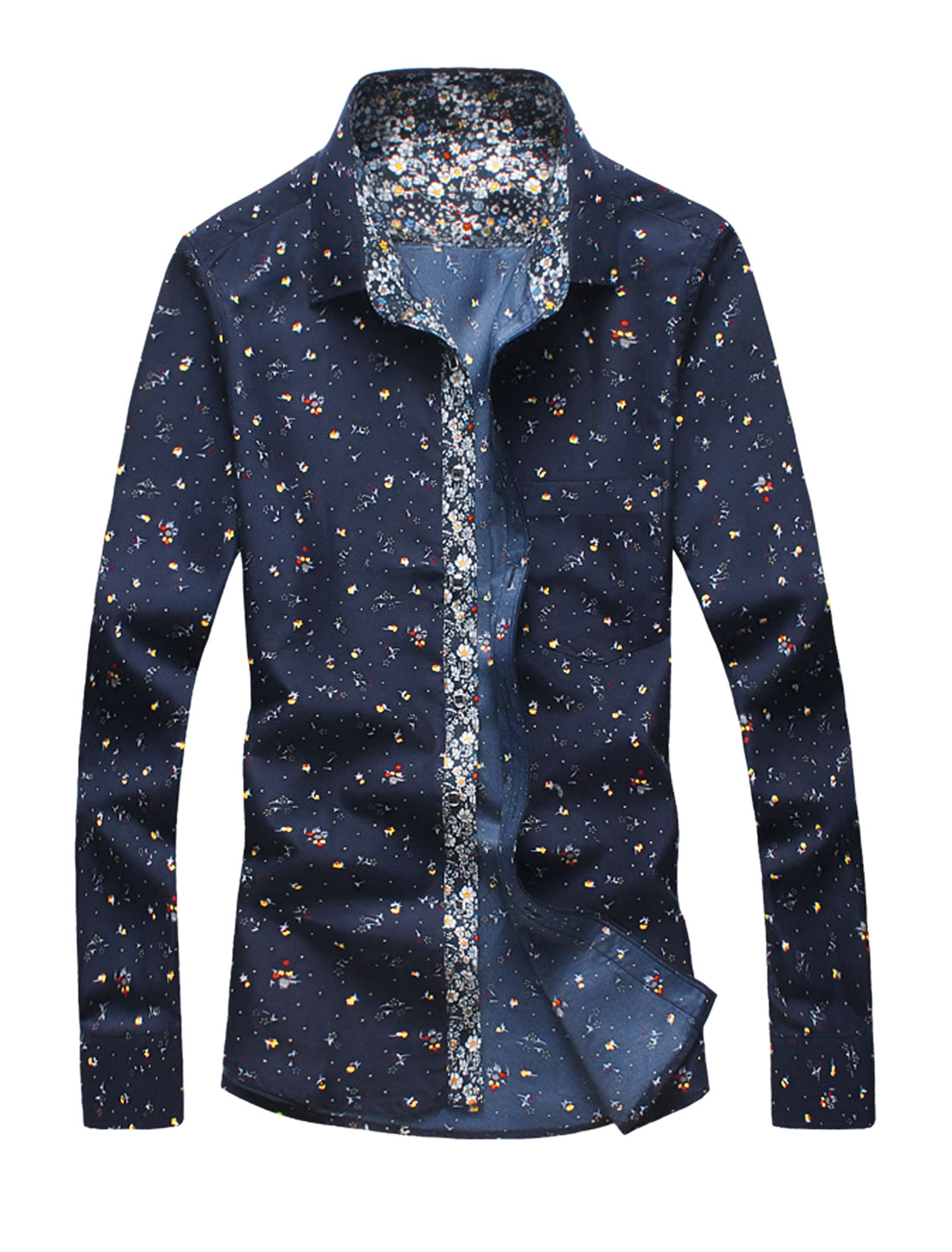 Men One Pocket Slim Fit Single Breasted Flower Print Shirt Navy Blue M