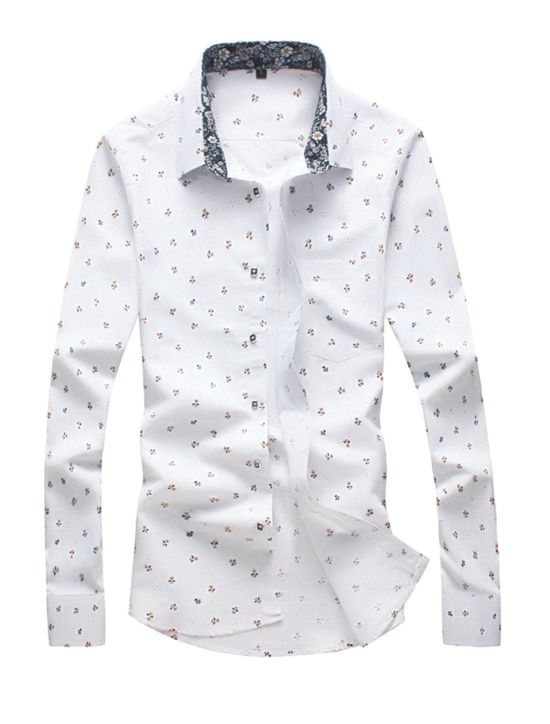 Men Point Collar Slim Fit One Pocket Floral Shirt White M