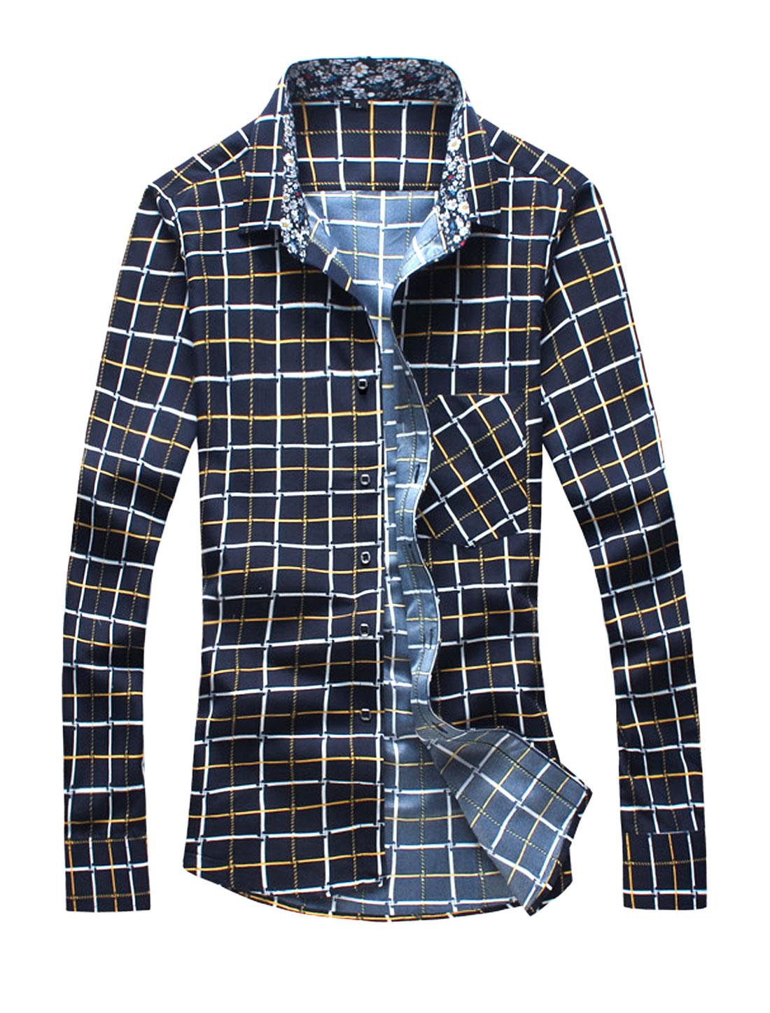 Men Long Sleeves Slim Fit Button Closure Plaids Shirt Yellow M