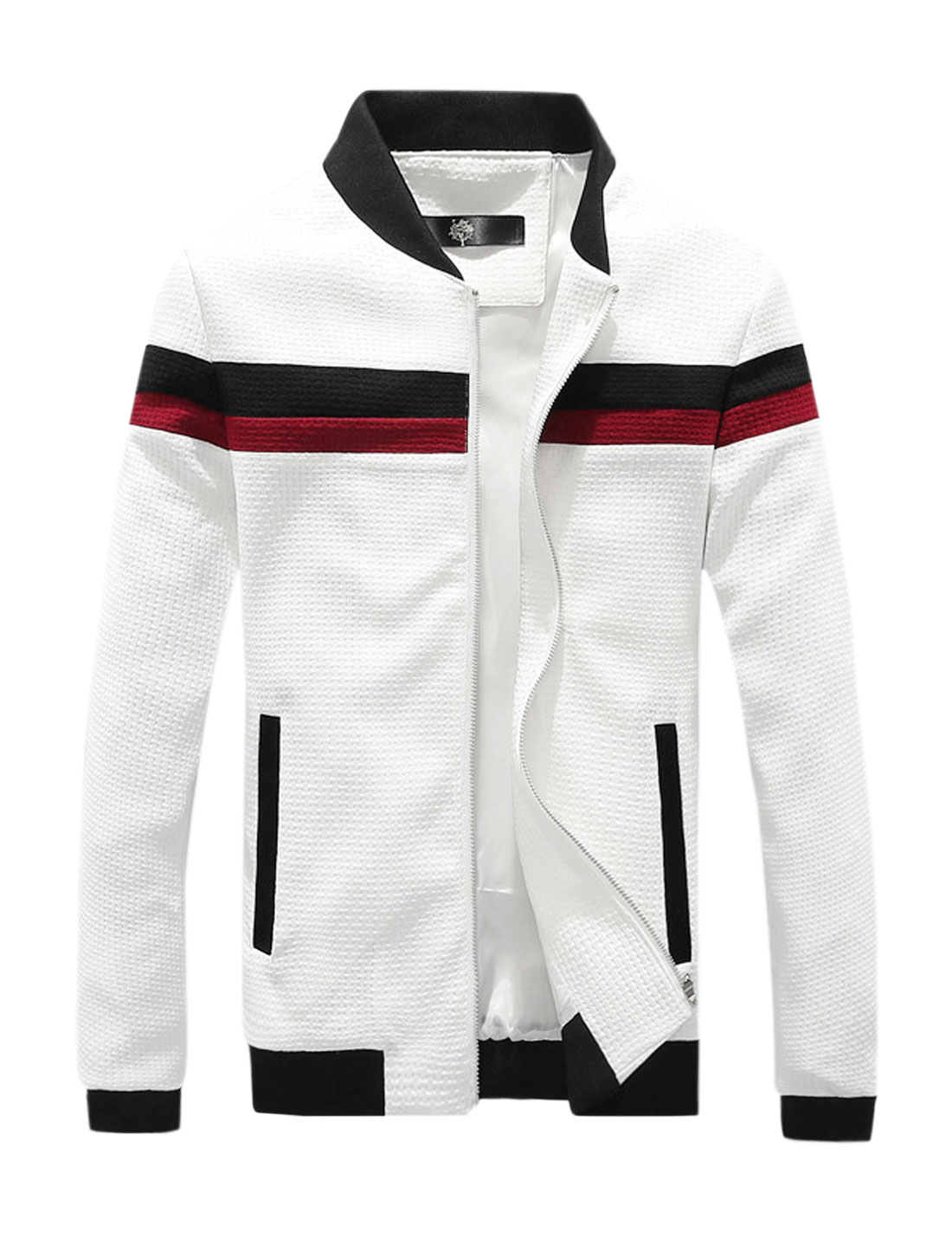 Men Weave Design Contrast Color Slim Fit Zip Up Jacket White M