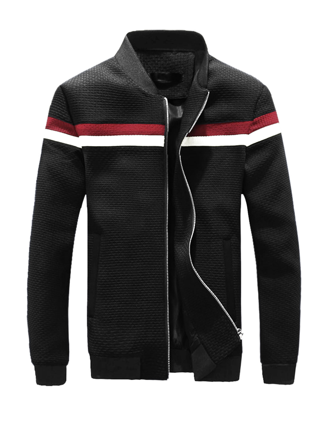 Men Weave Design Contrast Color Slim Fit Zip Up Jacket Black M