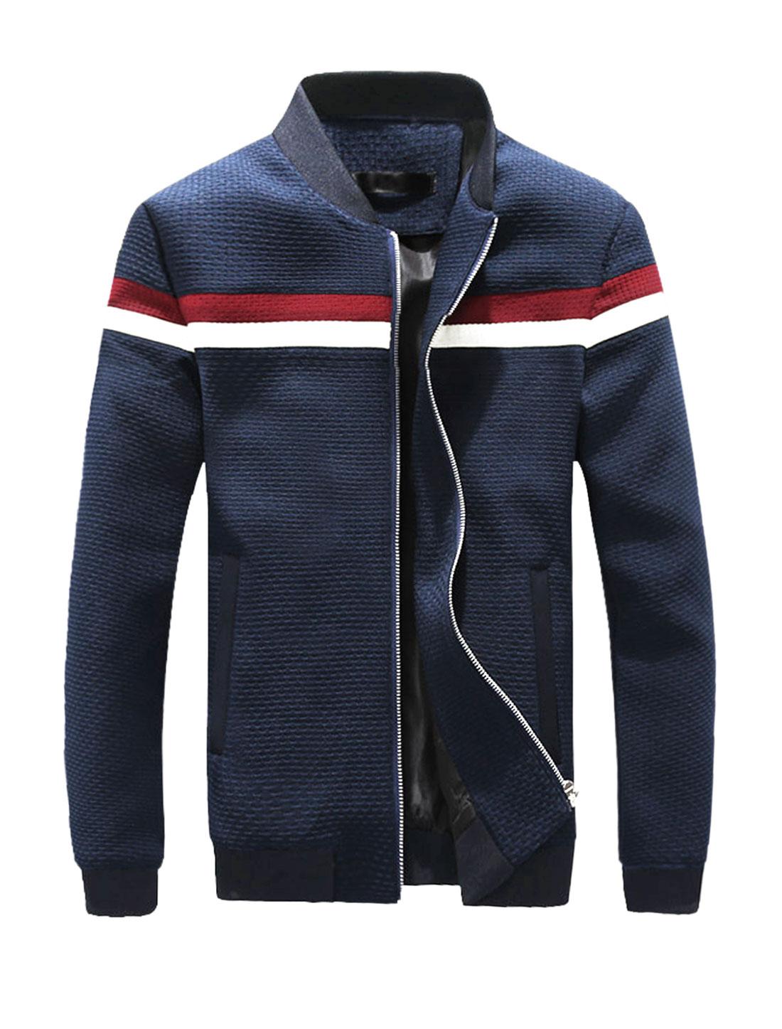 Men Weave Design Contrast Color Slim Fit Zip Up Jacket Blue M