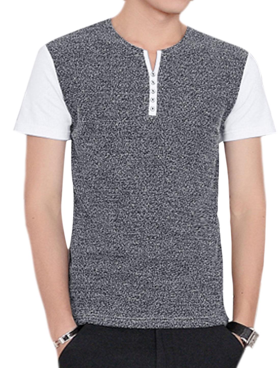 Men Split Neck Color Block Paneled Slim Fit Tee White M