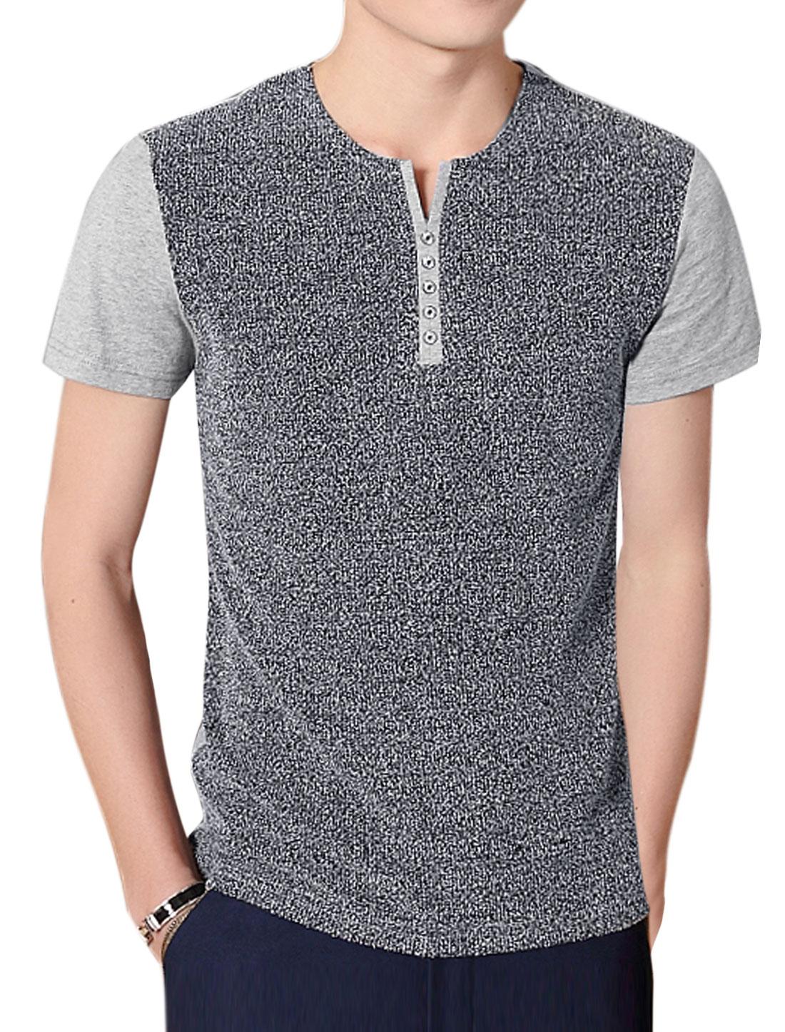Men Split Neck Color Block Paneled Slim Fit Tee Grey M