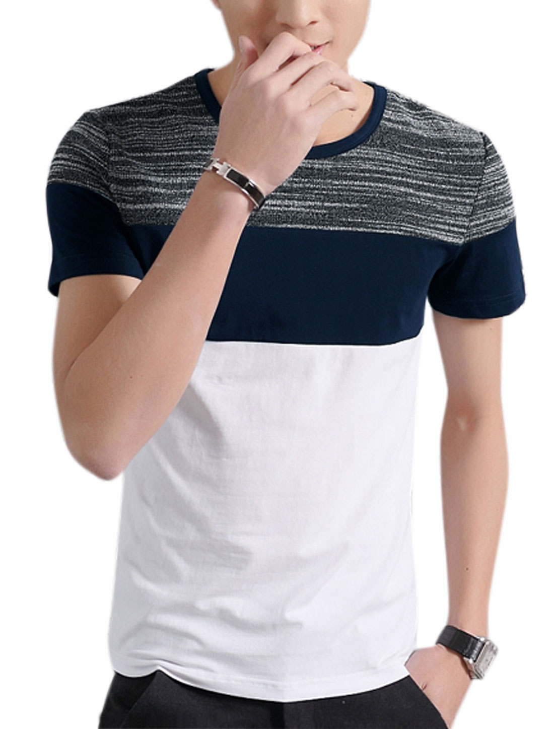Men Crew Neck Short Sleeves Contrast Color Paneled Tee White M