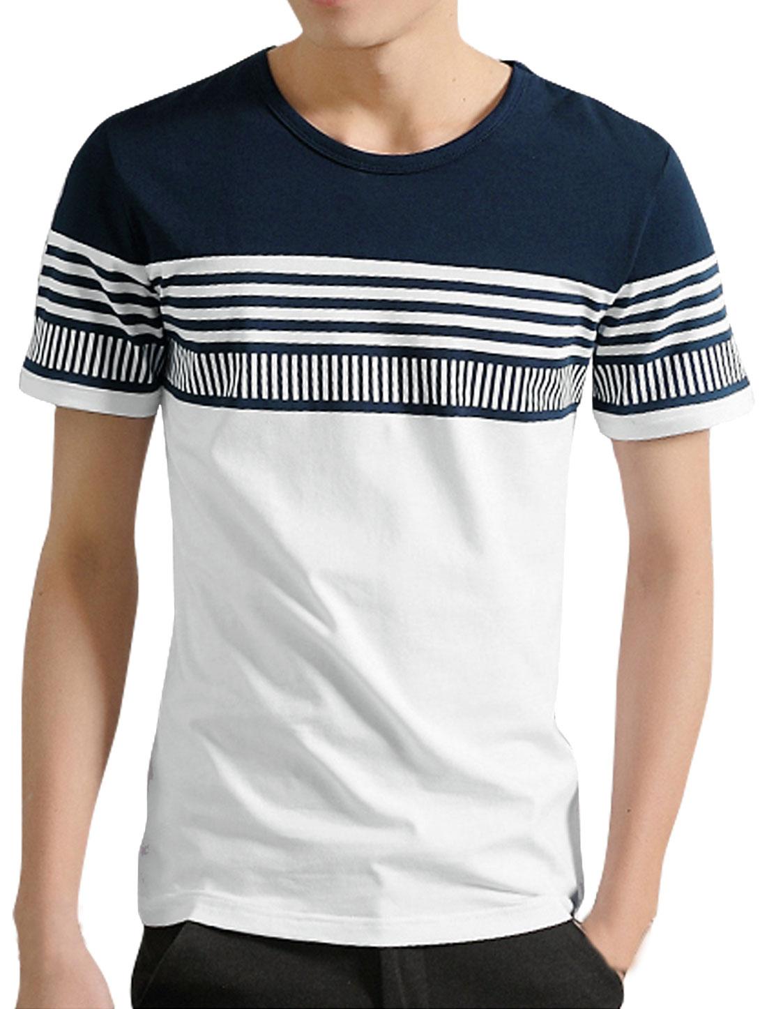 Men Crew Neck Short Sleeves Stripes Slim Fit Tee White M