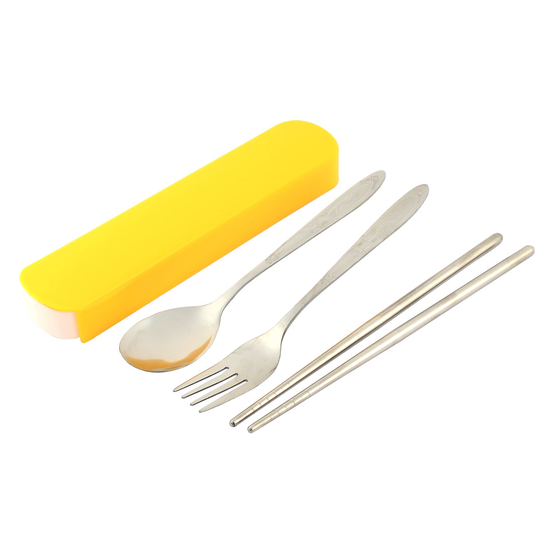 Fork Spoon Chopsticks Cutlery Portable Case Set 3 in 1 Yellow