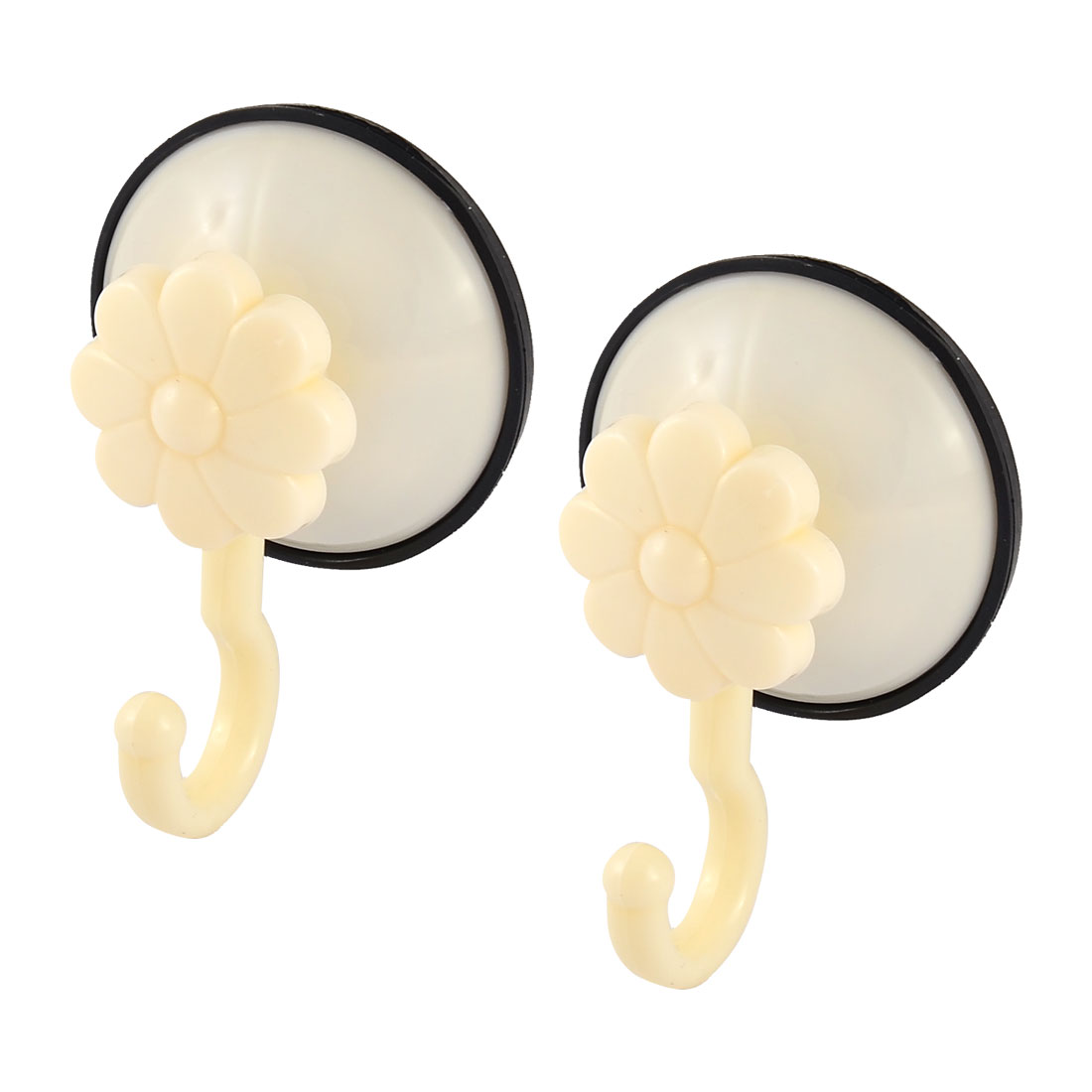 Plastic Bathroom Glass Door Suction Cup Hook Wall Hanger Beige 2 Pcs