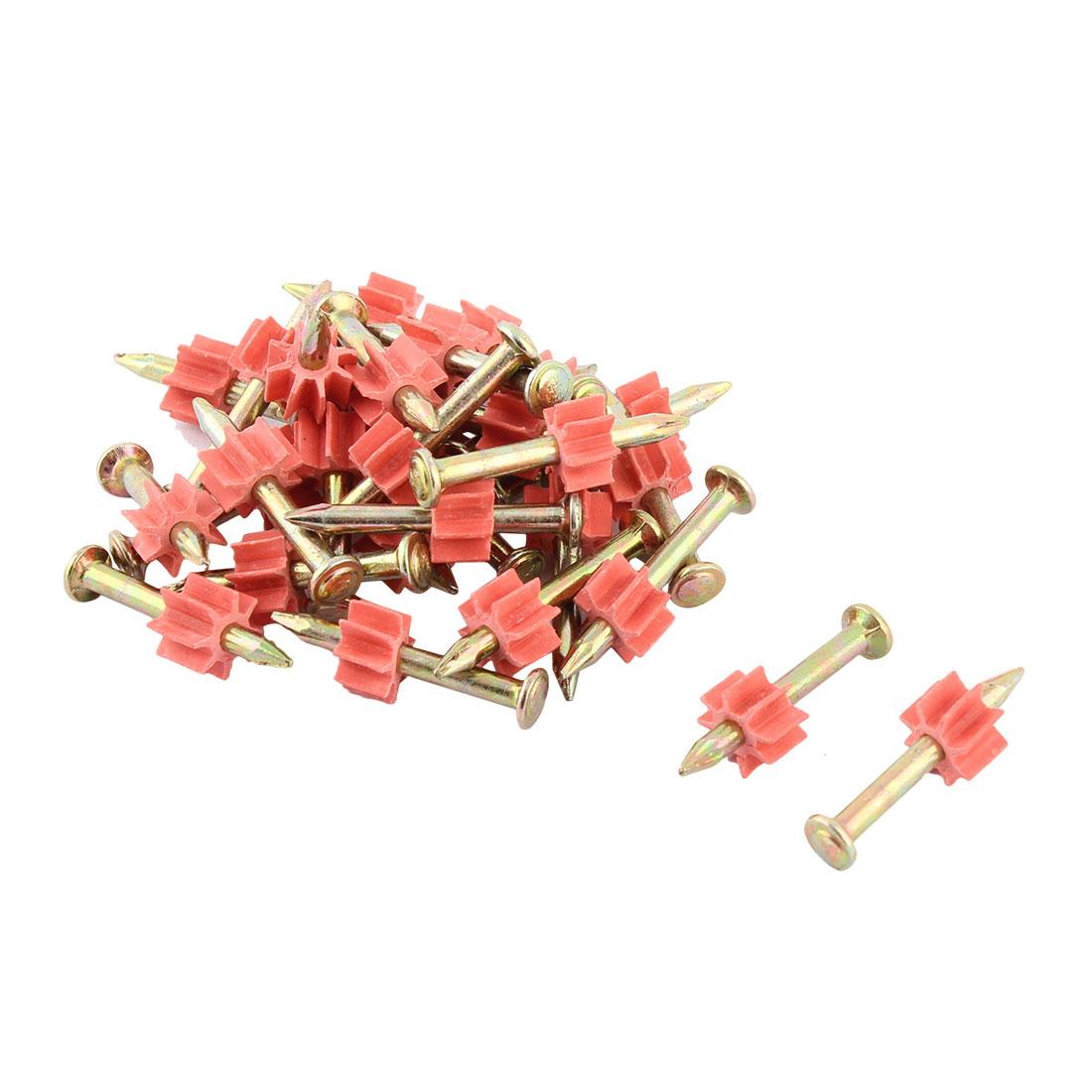 5.3mm Dia Shank 28mm Long Metal Power Hammer Drive Pins Fasteners Gold Tone Red 30 Pcs