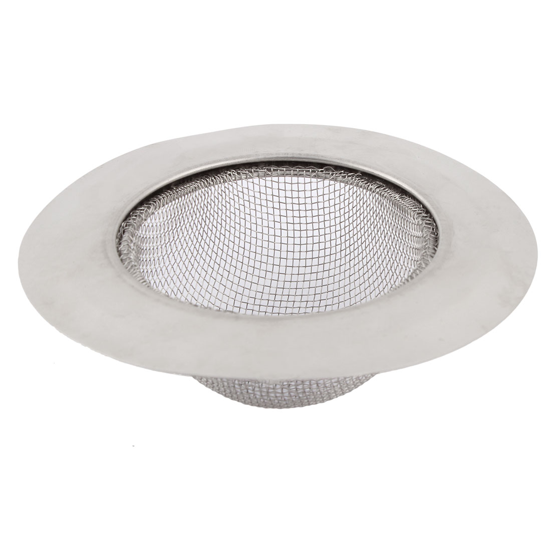 Stainless Steel Home Kitchen Basin Strainer Silver Tone 11.5cm Diameter