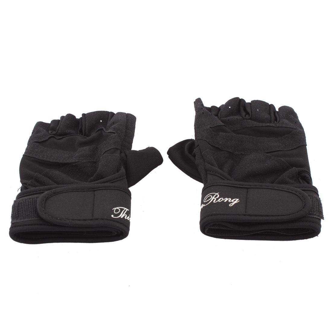 Pair Sportsman Hook Loop Fastener Wrap Closure Stretchy Gloves Black