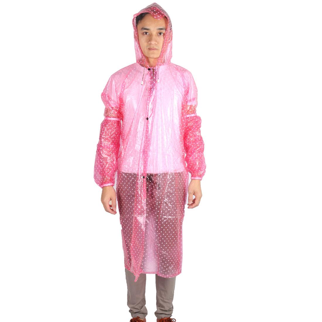 Plastic Dot Pattern Water Resistant Dustproof Apron w Sleeve Pair Pink