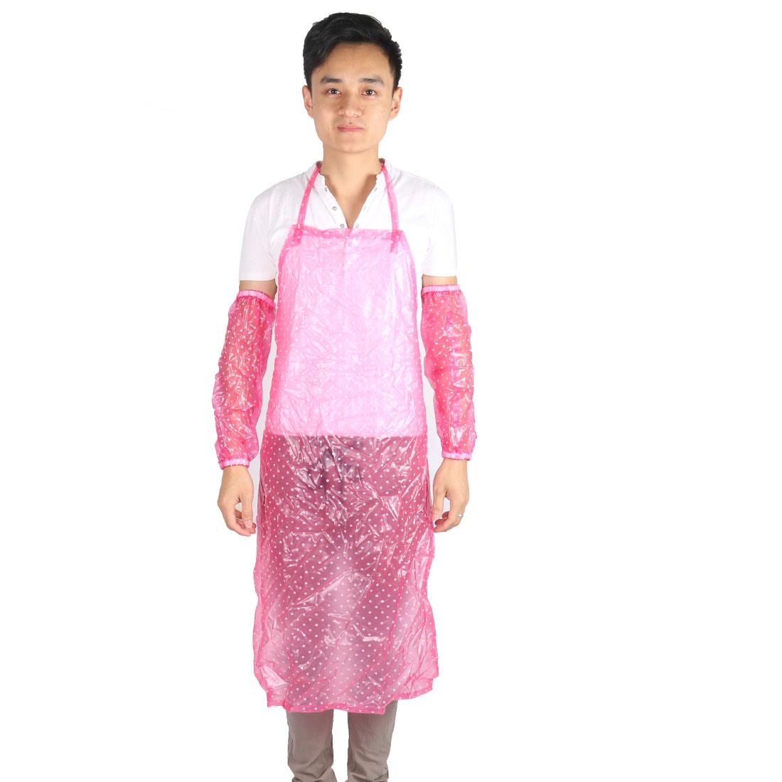 Home Plastic Dot Pattern Water Resistant Dustproof Apron w Sleeve Pair Pink