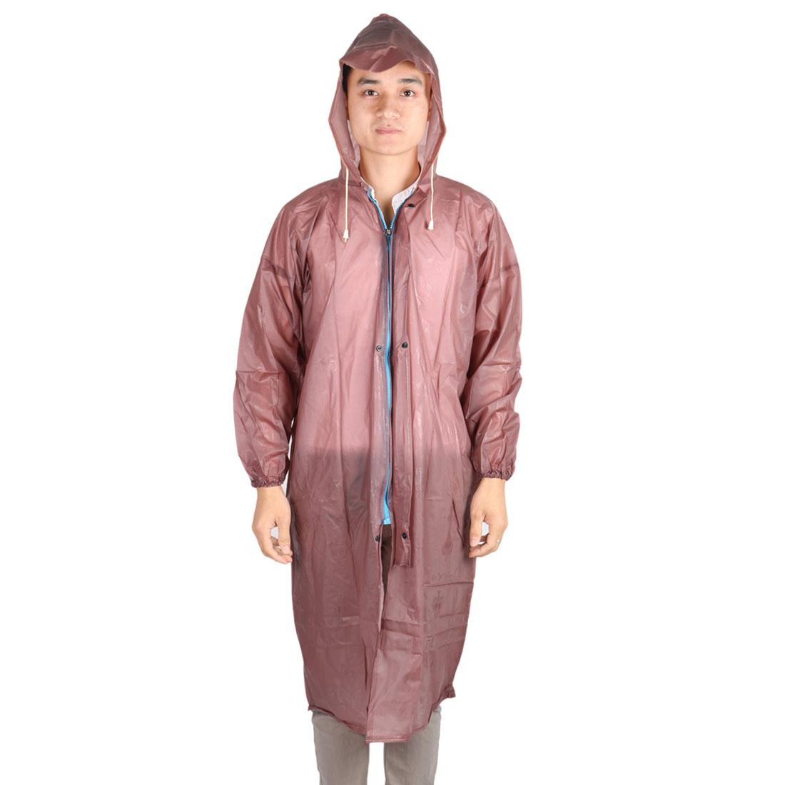 Outdoor Camping Hiking Motorcycle Plastic Water Resistant Dustproof Raincoat Protector Brown