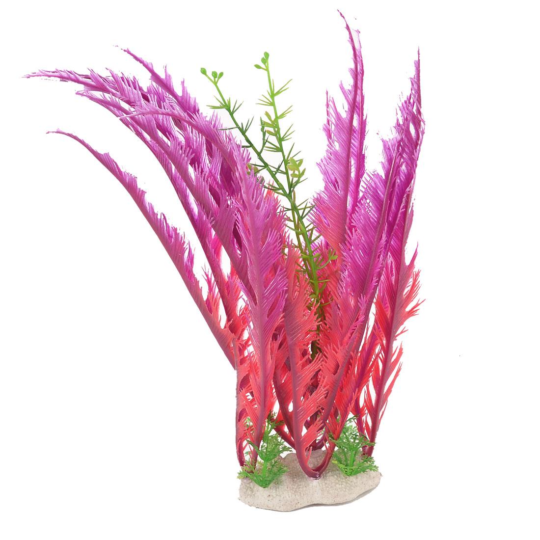 Aquarium Ceramic Base Plastic Artificial Aquascaping Water Weeds Plant Grass Flower 30cm Height