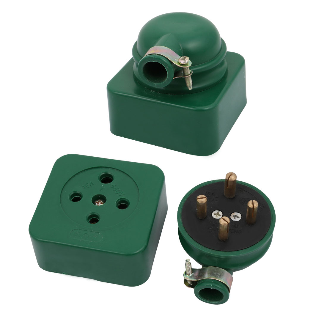 2 Pcs AC 440V 16A Three Phase Four Wire 3P 4W Industrial Socket Set Green