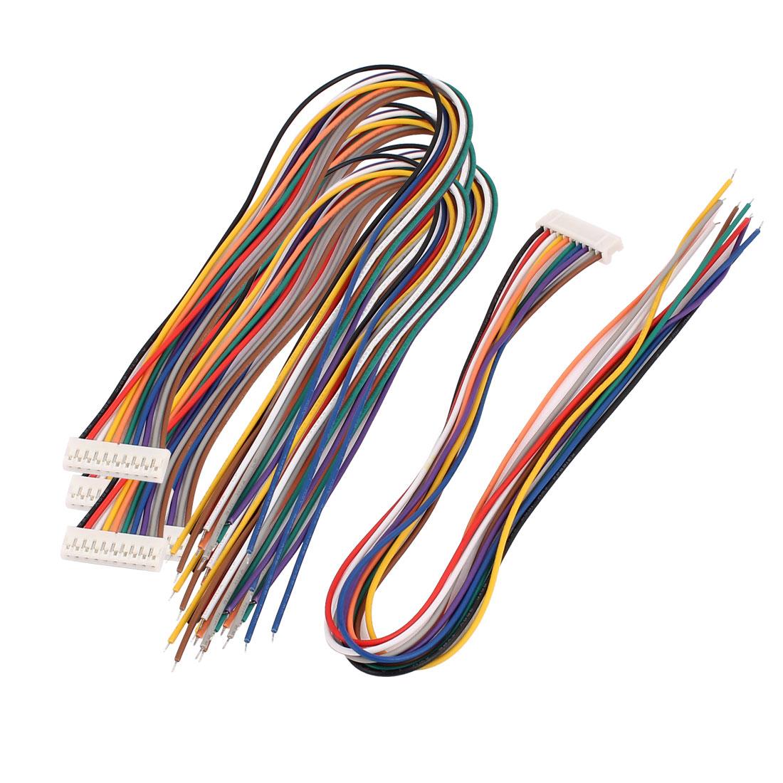 5 Pcs Single End 10P PH2.0 Balance Connector Extension Wire 30cm Multi-color