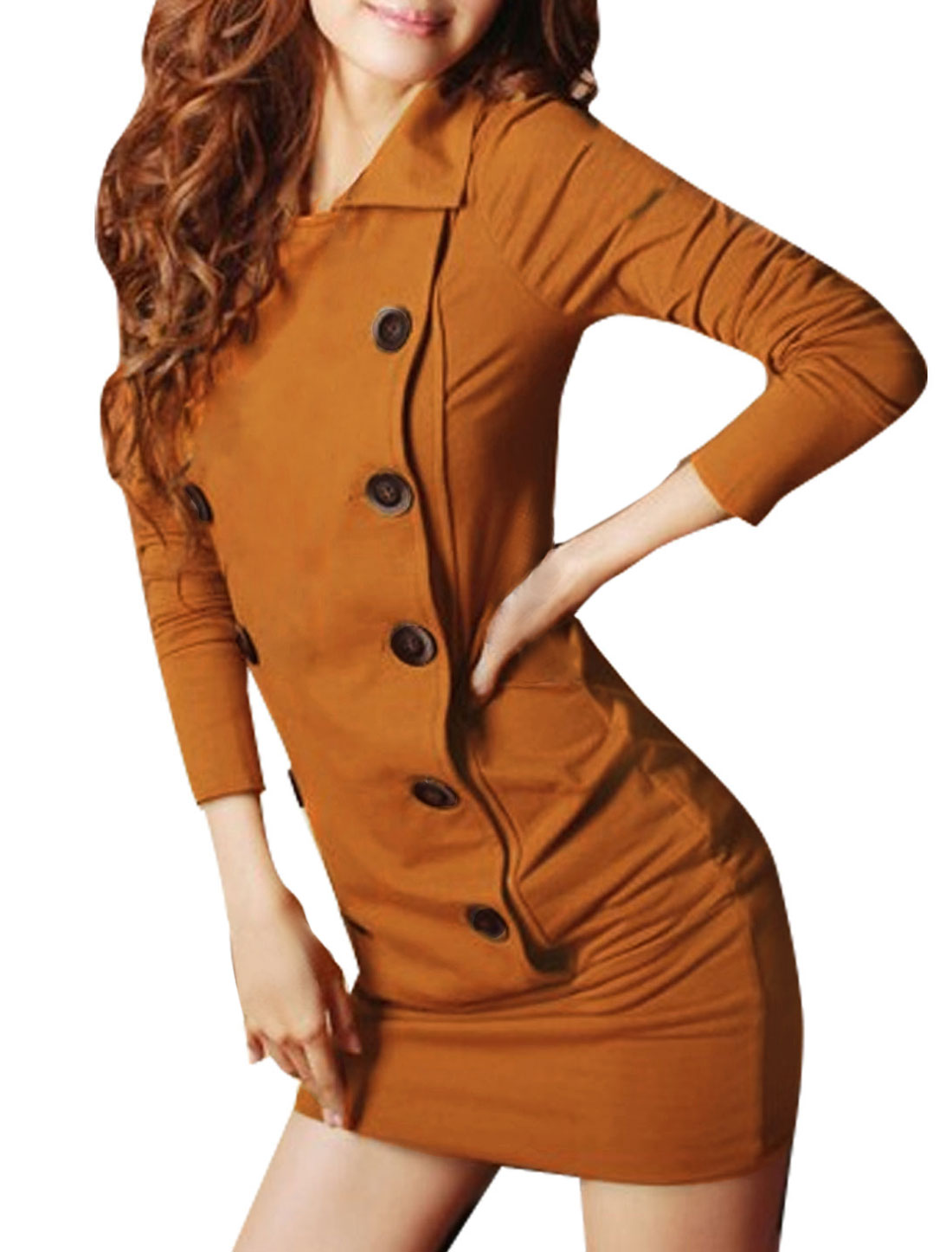 Girls Long Sleeve Double Breasted One-piece Dress Brown 12