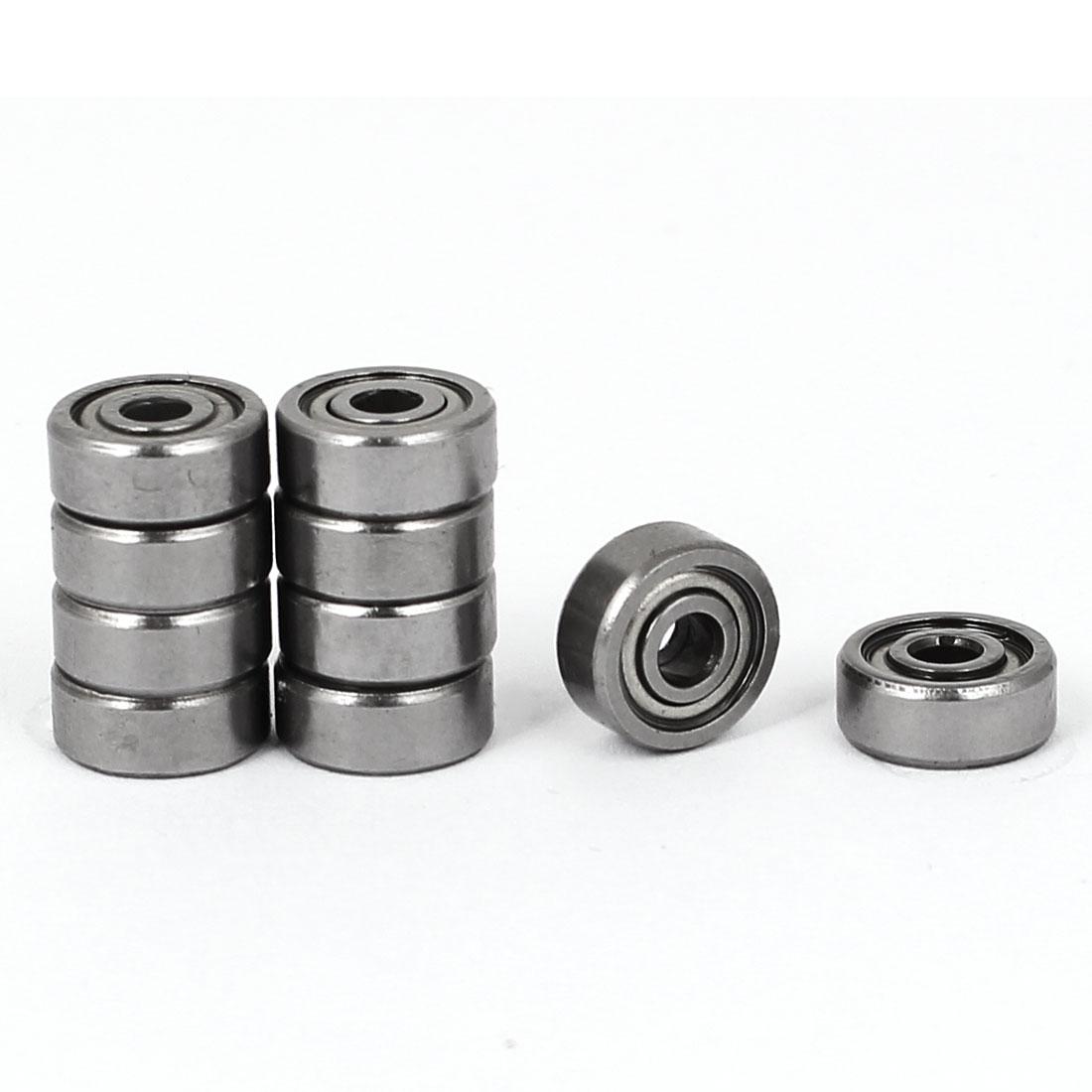 3mm x 10mm x 4mm Metal Flanged Ball Bearing 623zz Silver Tone 10pcs