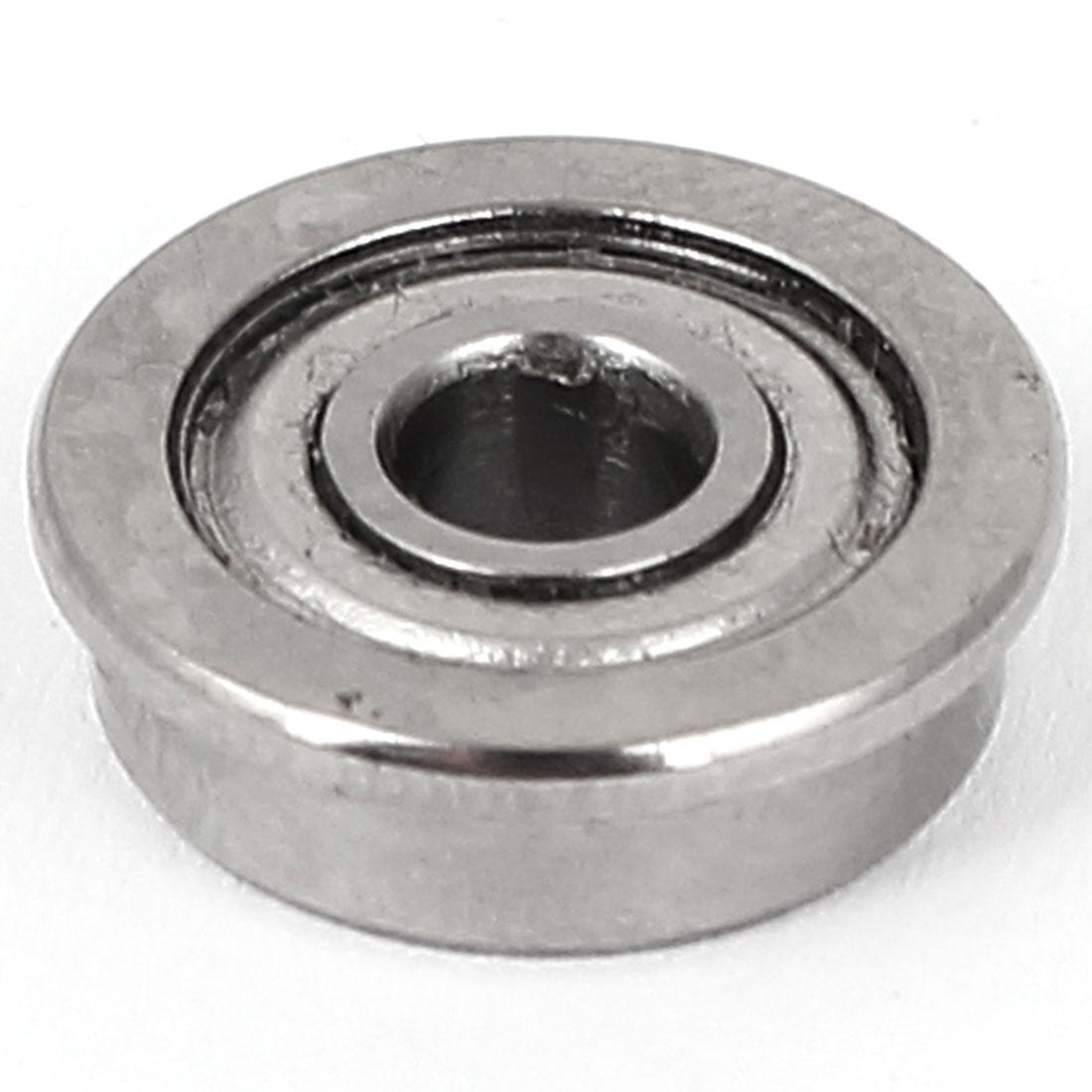 4mm x 15mm x 5mm Metal Flanged Ball Bearing F624ZZ Silver Tone