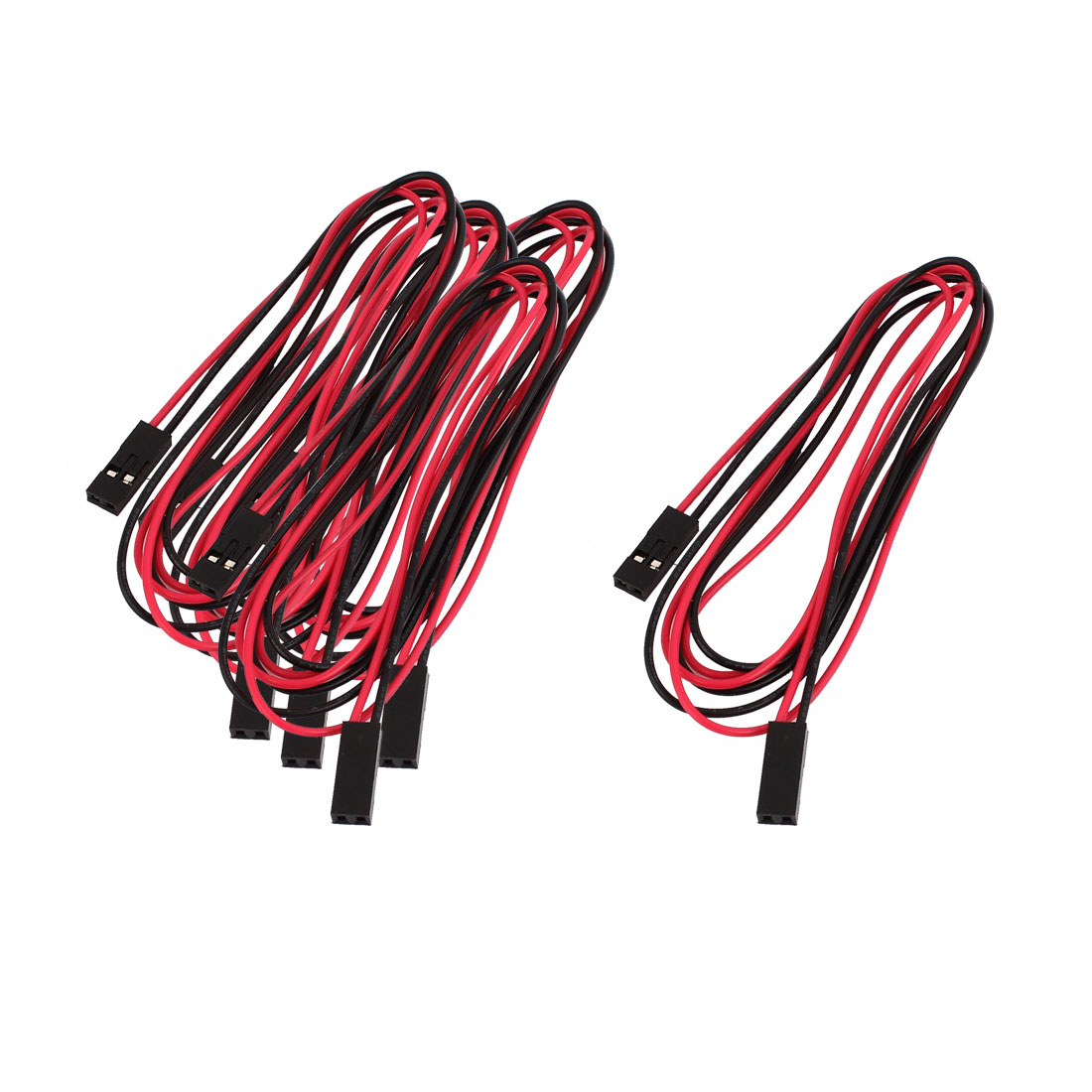 5 Pcs Double End 2P Male Connector Extension Wire 70cm Black Red