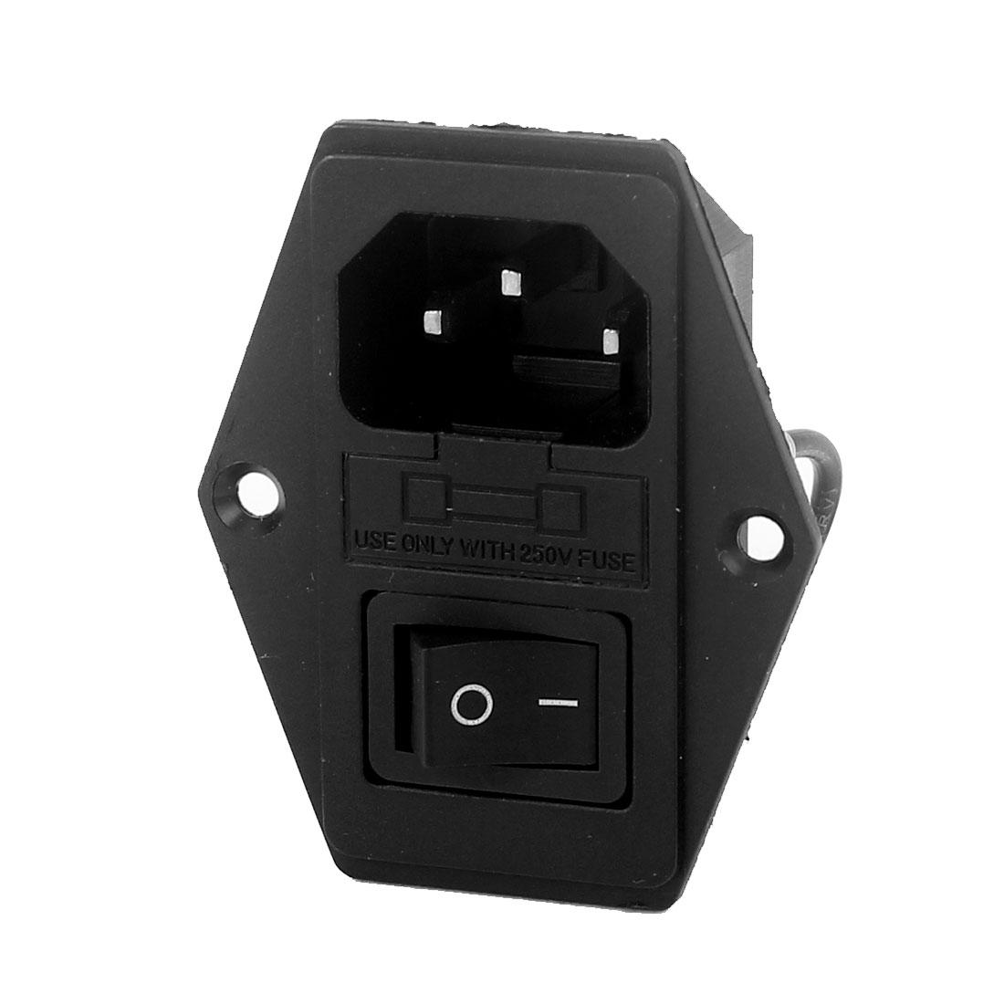 AC 250V 10A SPDT IEC320 C14 Rocker Boat Switch Fuse Power Inlet Socket