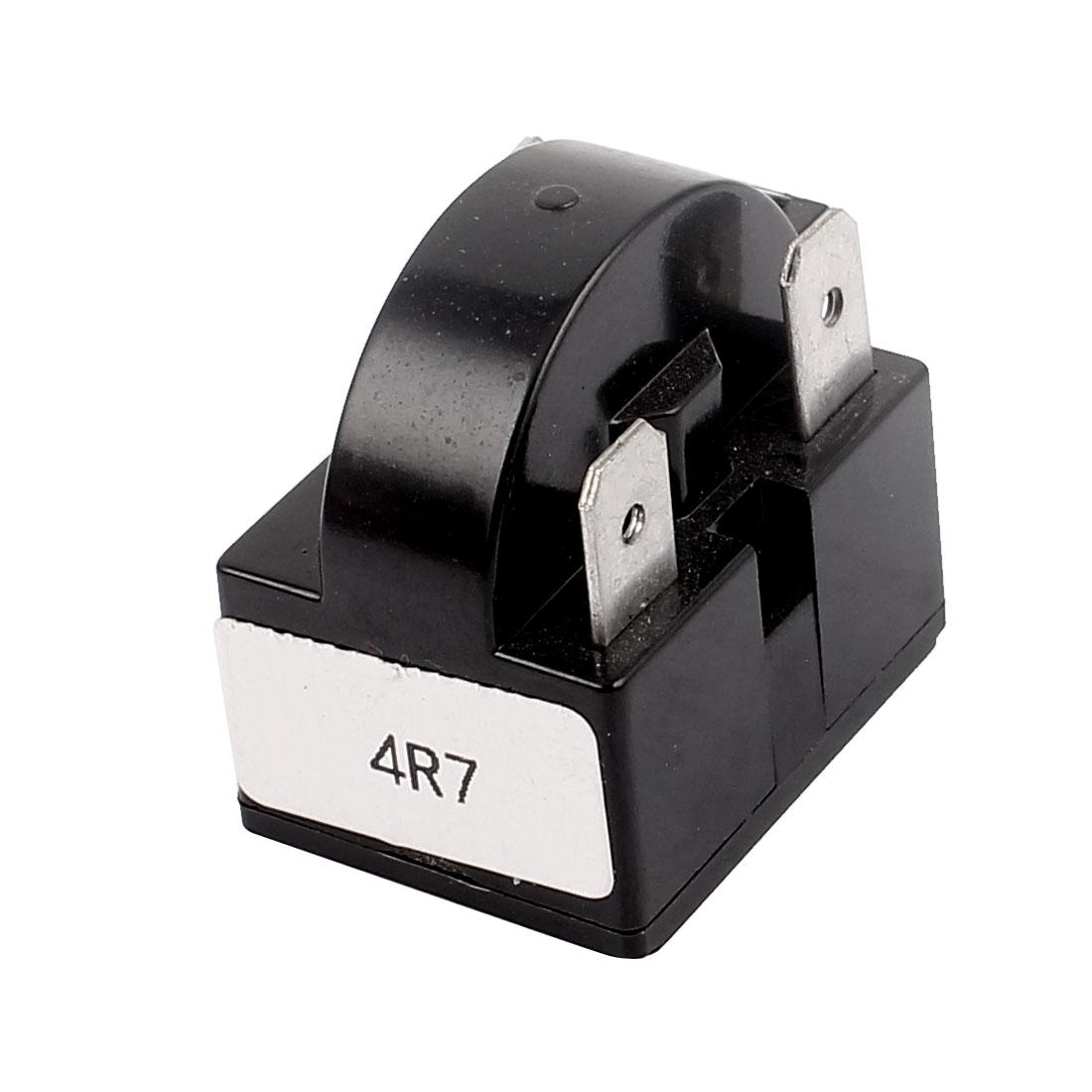 Black Plastic Shell 4.7 Ohm Resistance 3 Terminals PTC Starter Relay for Refrigerator