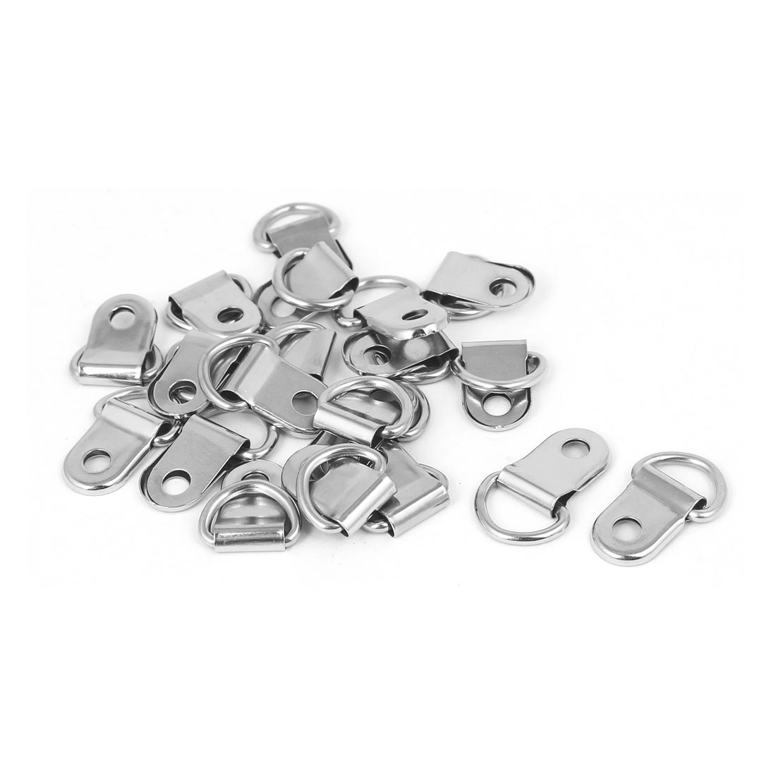 Picture Frame Hanging Single Hole D-Ring Hanger 25mmx14mm Silver Tone 20pcs