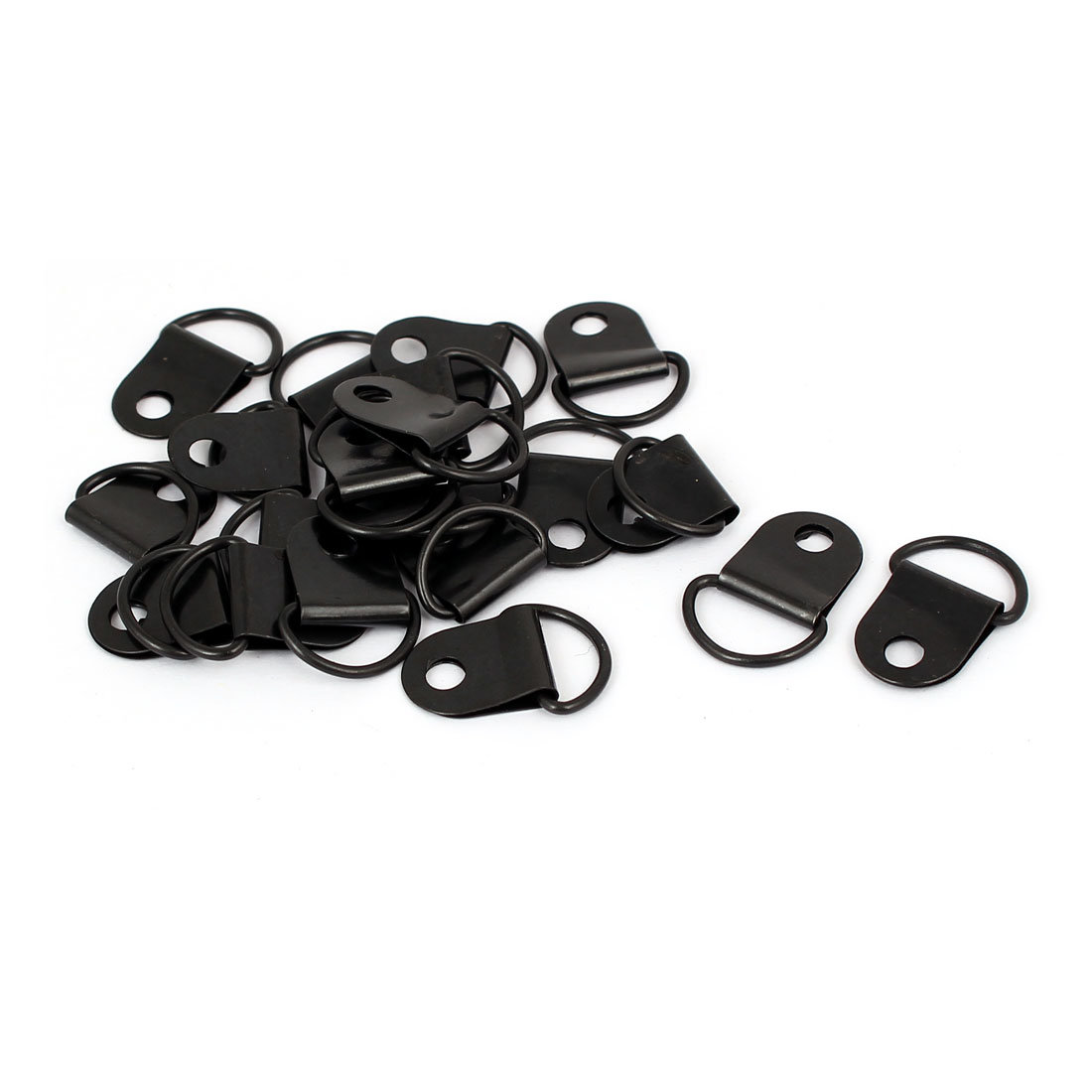 Picture Photo Frame Hanging Single Hole D-Ring Hanger 19mmx13mm Black 20pcs