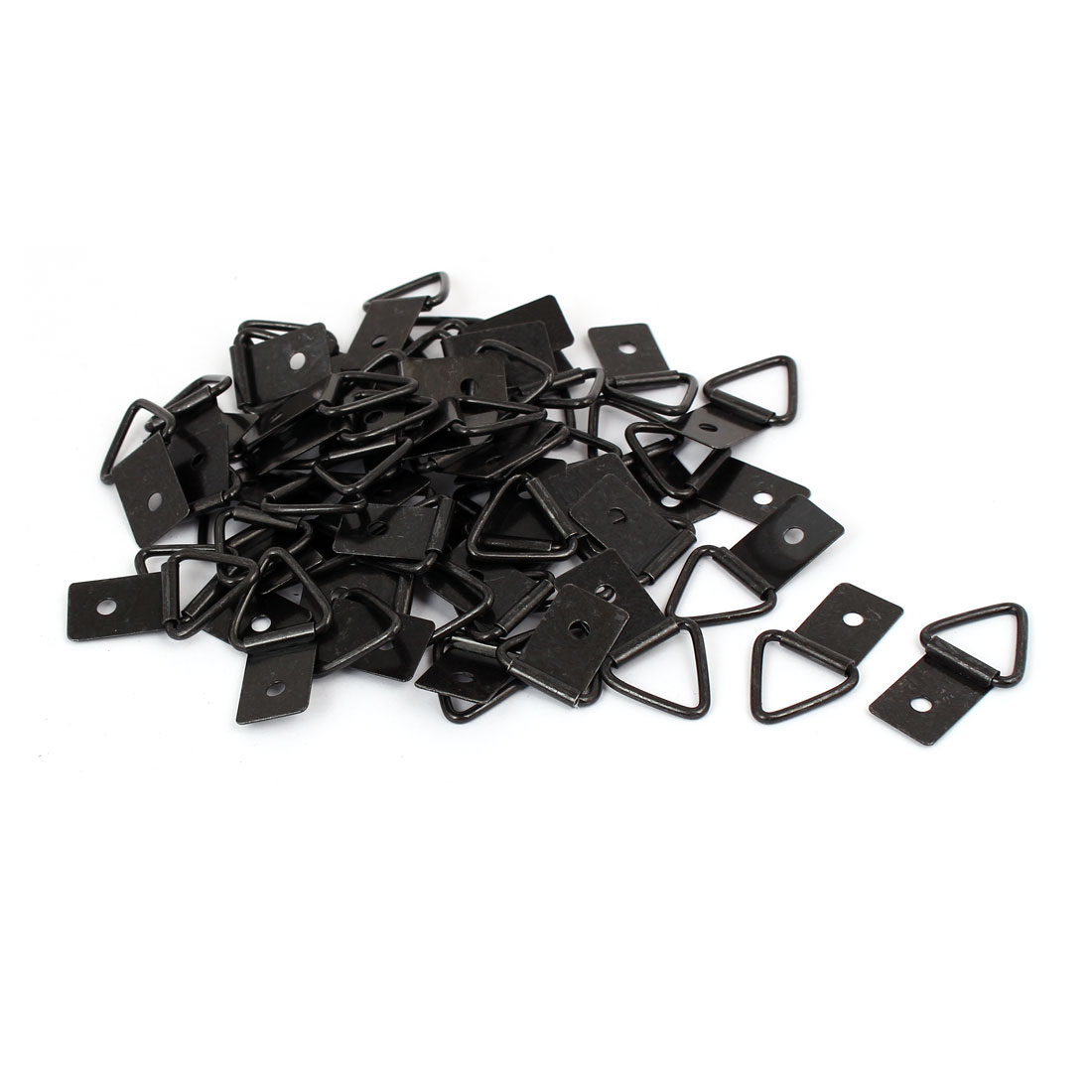 Photo Frame Hanging Single Hole Triangle D-Ring Hanger Black 36mmx19mm 50pcs
