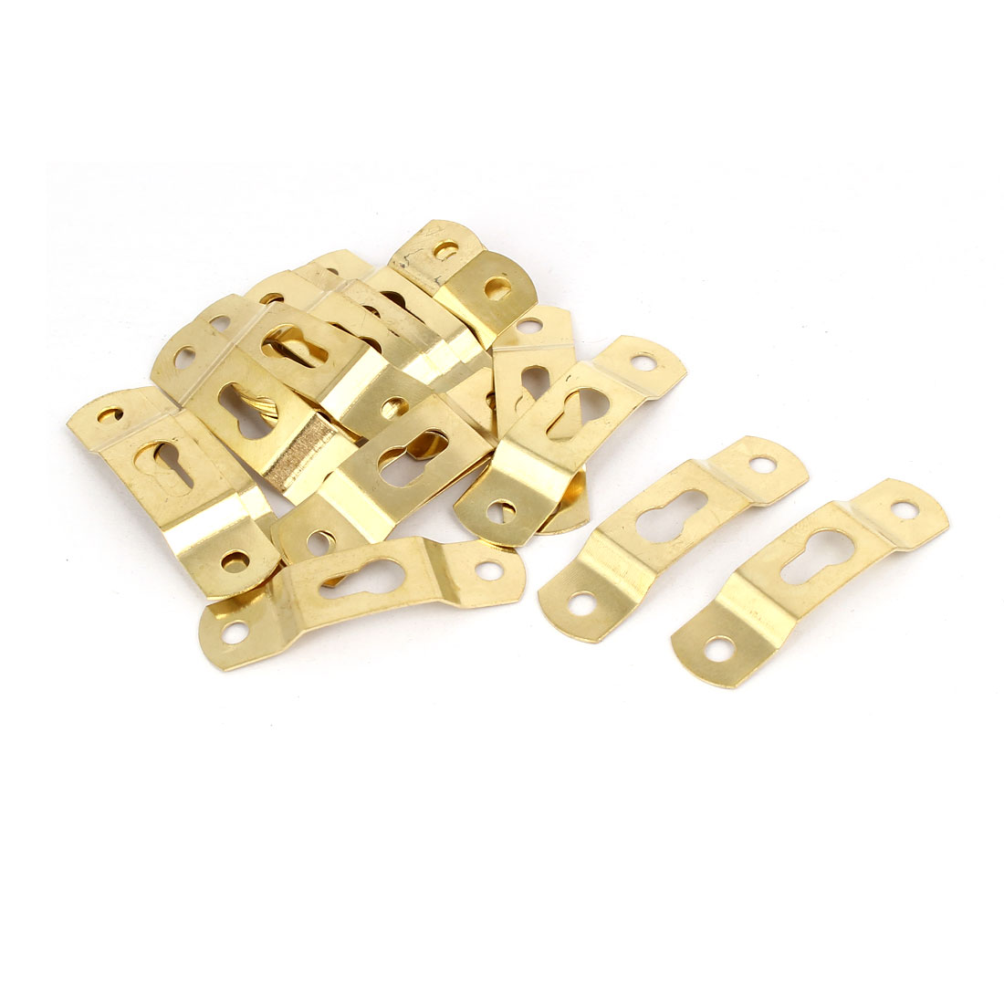 Picture Photo Frame Hanging Hidden Hook Hanger Gold Tone 49mmx13mmx5mm 20pcs