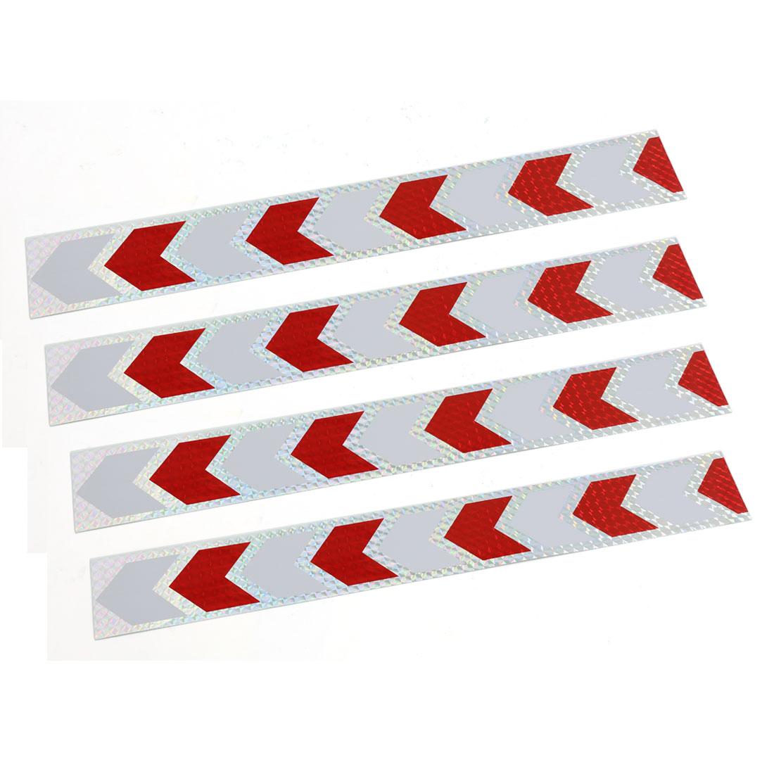 Trucks Car Decor Arrows Design Stick-on Reflective Sticker Silver Tone Red 4pcs