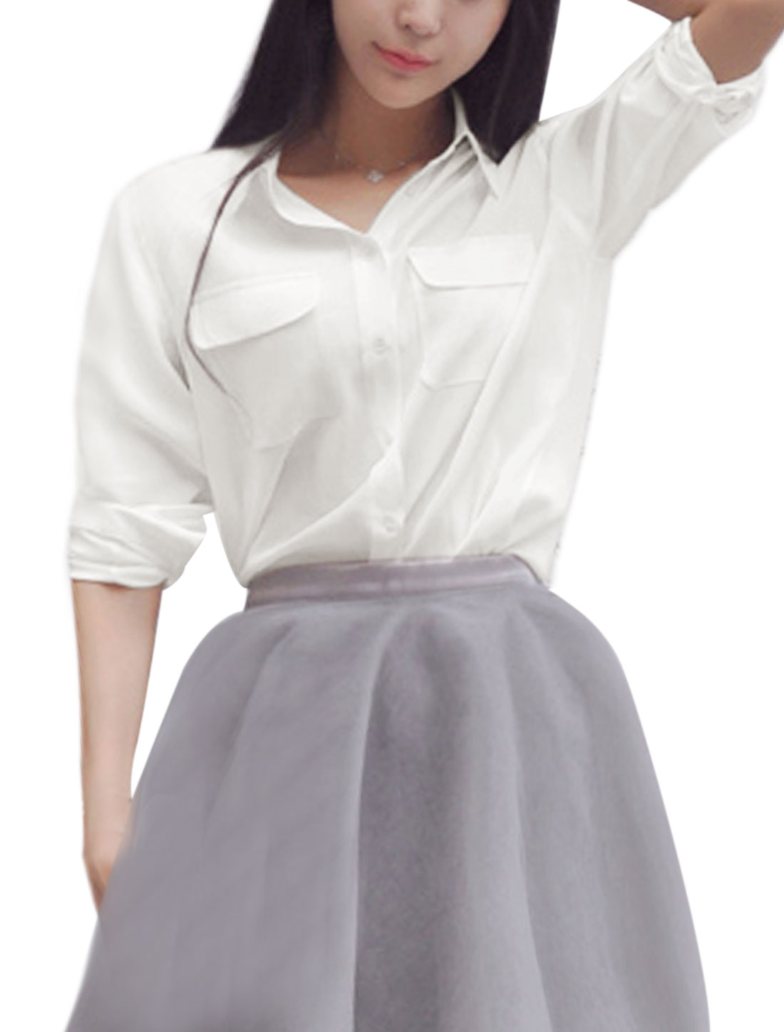 Women Point Collar Long Sleeves Two Flap Pockets Shirt White XS
