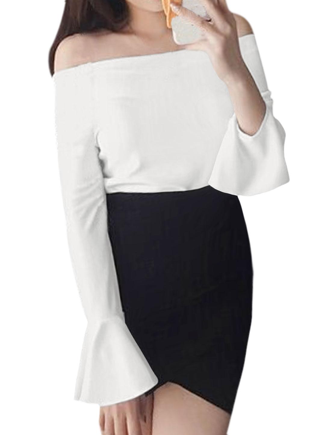 Women Long Trumpet Sleeves Off Shoulder Slim Fit Top White XS